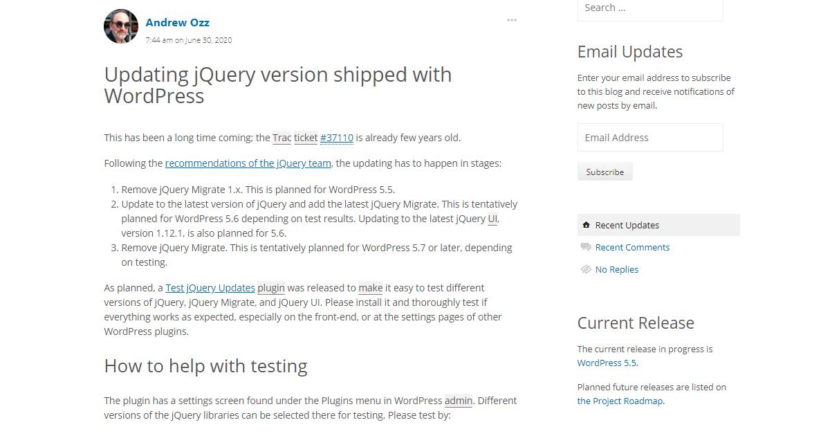 WordPressのjQueryバージョンがアップデートされる模様、テスト用プラグインも公開
